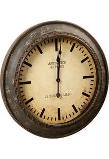 Relógio De Parede Vintage De Metal Decorativo Antiquité