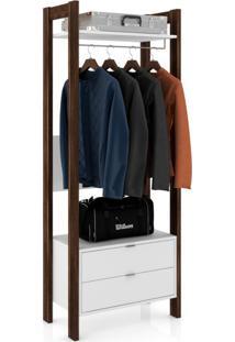 Guarda-Roupa Closet Modulado Belga 2 Gv Branco Nogal