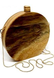 Bolsa La Madame Co Clutch Redonda Wood