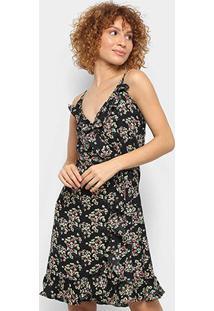Vestido Pérola Curto Transpassado Floral Babados - Feminino-Preto