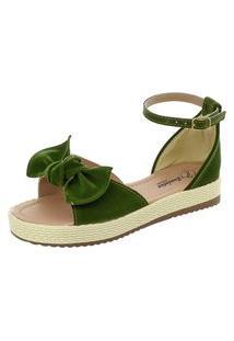 Sandália Romântica Calçados Flatform Fashion Verde Musgo