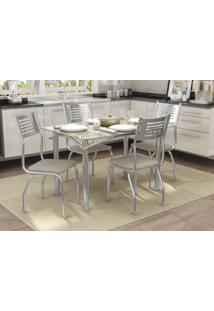 Conjunto Mesa Elba Com 4 Cadeiras Munique Linho Marrom E Cromado Kappesberg Crome