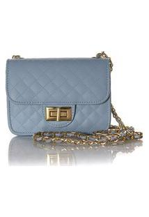 Bolsa Feminina Matelassê E Corrente Dourada Luxo Lançamento Blogueira Azul Claro