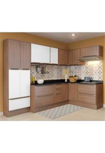 Cozinha Completa Multimóveis Com 12 Peças Calábria 5462R Nogueira/Branco