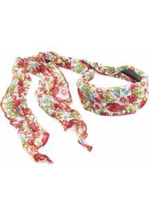 Tiara Floral Bijoulux Branca Com Vermelha - Kanui
