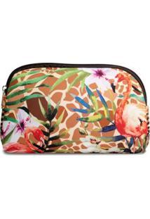 Necessaire Em Neoprene Tritengo Girafa Flamingos Floral - Feminino-Laranja+Areia