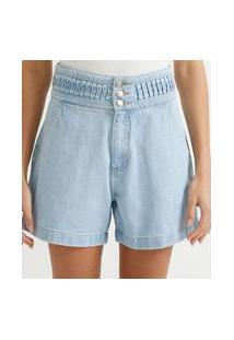Bermuda Mom Jeans Com Detalhe No Cós