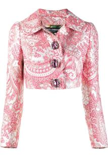 Dolce & Gabbana Jaqueta Cropped Jacquard - Rosa