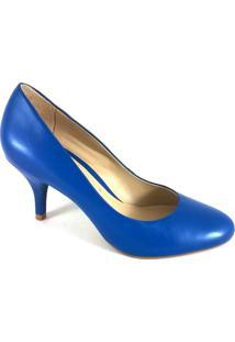 Scarpin Bico Redondo Topgrife Couro - Feminino-Azul