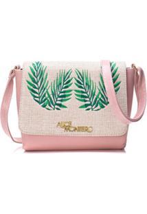 Bolsa Alice Monteiro Com Tampa Bordado Folhas - Feminino-Rosa