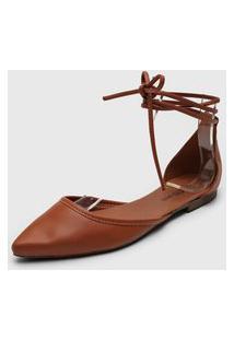 Sapatilha Dafiti Shoes Amarração Caramelo