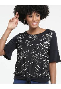 Blusa Feminina Estampa Folhas Amarração