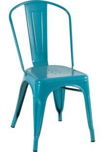 Cadeira Iron Tolix - Industrial - Aço - Vintage - Turquesa