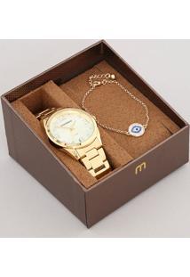 Kit De Relógio Analógico Mondaine Feminino + Pulseira - 83435Lpmvde1K Dourado - Único