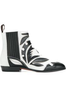 Santoni Ankle Boot De Couro Com Patch - Preto