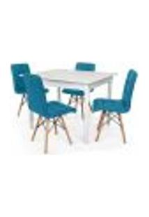 Conjunto Mesa De Jantar Robust 110X90 Branca Com 4 Cadeiras Eiffel Gomos - Turquesa