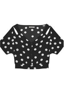 Blusa Cropped Com Vazados- Preta & Branca- Rovitexrovitex