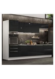 Cozinha Completa Madesa Lux 320004 Com Armário E Balcáo - Branco/Preto Branco