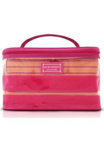 Kit Necessaire 2 Em 1 Jacki Design Listrada Pvc + Microfibra - Unissex-Pink