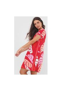 Vestido Lunender Curto Folhagem Vermelho/Rosa