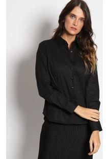 Camisa Lisa Com Bordado- Pretavip Reserva