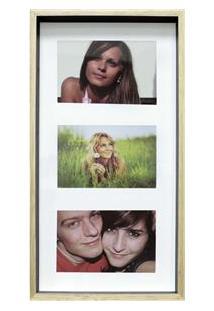 Painel Retangular Para Fotos Kapos Wood Em Madeira 20 X 40 Cm - Preto/Pink