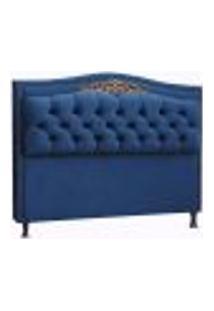 Cabeceira King Estofada Realeza 195 Cm Azul Luxor Js Móveis