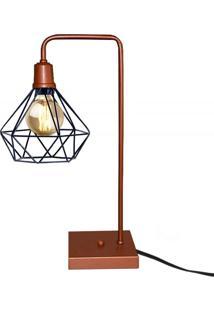 Abajur Luminaria De Mesa Com Aramado Retro Cobre Com Preto