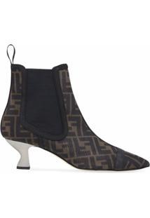 Fendi Ankle Boot Colibri Bico Fino Monogramado - Marrom