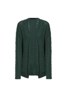 Cardigan Feminino Tricot Trançado - Verde
