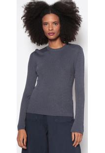 Blusa Lisa Em Tricã´-Azul Escuroosklen