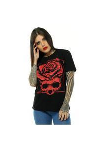 Camiseta Bossa Brasil Red Skull Preto