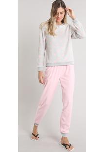 Pijama De Inverno Feminino Estampado De Coração Em Fleece Manga Longa Cinza