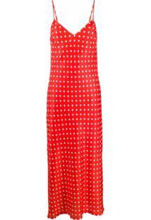 Essentiel Antwerp Vestido Longo Veva Com Poás - Vermelho