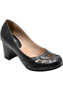 Scarpin Em Couro D&R Shoes Feminino - Feminino-Preto