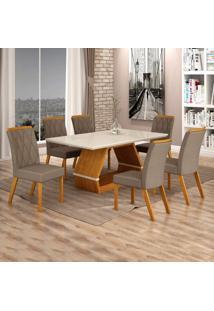 Conjunto Sala De Jantar Mesa Tampo De Vidro Off White 6 Cadeiras Esmeralda Leifer Imbuia Mel/Off White/Camurça