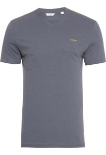 Camiseta Masculina Gola V Slim Estampa 3D - Cinza