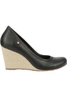 Sapato Anabela Com Tag- Preta- Salto: 8Cm- Cravocravo & Canela