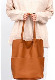 Bolsa Line Store Leather Sacola Shopper N1 Bolsos Couro Caramelo