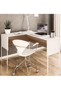 Mesa Para Computador Angular Maiorca Branco/Castanho - Politorno