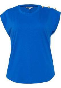Blusa Almaria Plus Size New Umbi Com Botão Ombro A