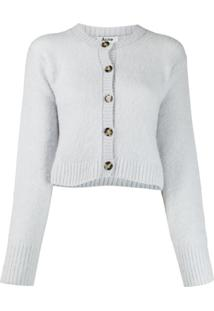 Acne Studios Cardigan Cropped Decote Careca - Azul