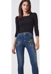 Calça Frente Zíper Slim Jeans Azul Denim - 34