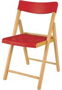 Cadeira Potenza Dobravel Natural C/Plastico Vermelha - 20567
