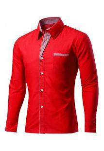 Camisa Masculina Slim Fit Com Detalhes Listrados Manga Longa - Vermelho