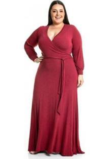Vestido Malha De Viscose Longo Com Mangas Longas Miss Masy Plus Size Feminino - Feminino-Vermelho