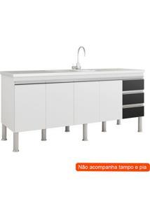 Balcão De Cozinha Ibiza 4 Pt 3 Gv Branco E Preto