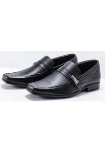 Sapato Social Couro Zanuetto Fivela Masculino - Masculino-Preto