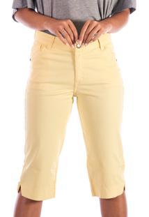Bermuda Sisal Jeans Pedal Amarela