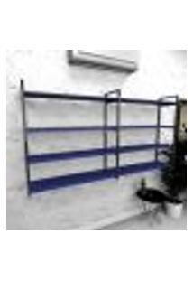 Estante Industrial Escritório Aço Cor Preto 180X30X98Cm (C)X(L)X(A) Cor Mdf Azul Modelo Ind55Azes